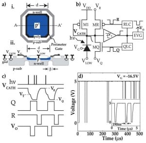 High signal-to-noise ratio avalanche photodiodes with perimeter field gate and active readout